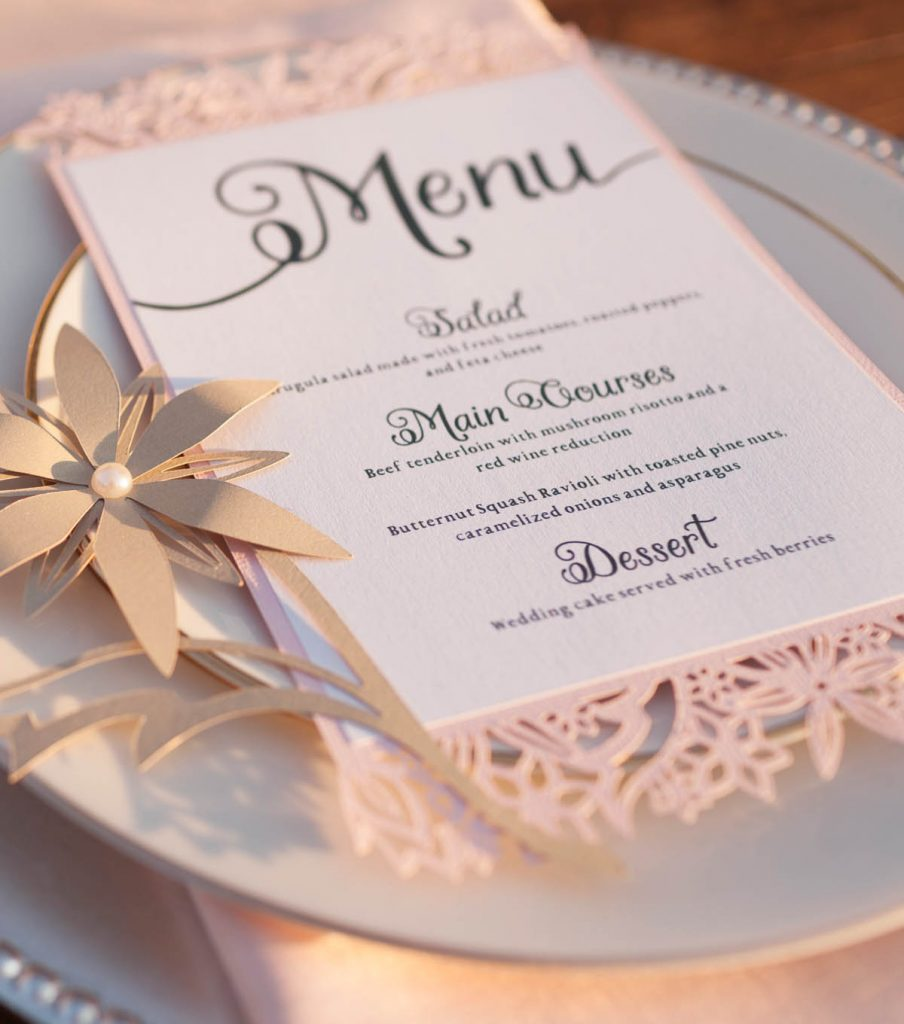 Cricut wedding menu