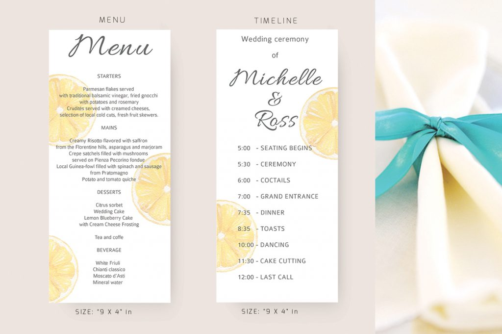 DIY Wedding Menu Design Inspiration